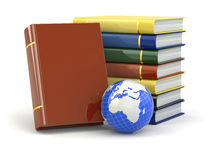 E-learning. Books and earth on white background. Royalty Free Stock Image