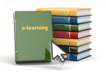 E-learning. Books and mouse cursor on white background. Royalty Free Stock Images