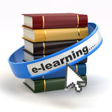 E-learning. Books and mouse cursor on white background. Stock Images