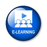 E learning button. E learning web button - editable vector illustration on isolated white background vector illustration