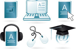 E learning cartoon icons in vector Stock Images