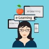 E-learning con la ragazza e lo schermo di computer Fotografia Stock Libera da Diritti