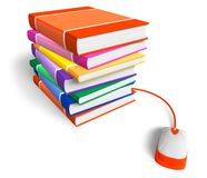 E-learning concept. Stack of color books with connected PC mouse isolated over white background Stock Photos
