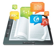 E-learning concept. Electronic book -  illustration Royalty Free Stock Image