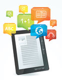 E-learning concept. Electronic book - illustration Stock Images