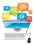 E-learning concept. Computer and keyboard Stock Photos