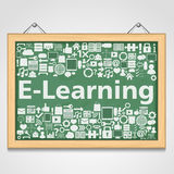 E-Learning concept. Blackboard with different education icons, e-learning concept Royalty Free Stock Photography