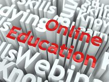 E-Learning Concept. Inscription of Red Color Located over Text of White Color Royalty Free Stock Photography
