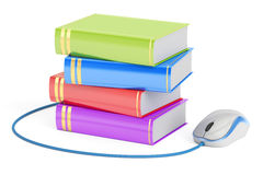 E-learning concept, books with computer mouse. 3D rendering Stock Image
