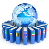 E-learning concept. Books with the flags of the countries of the Earth. Hi-res digitally generated image Stock Images