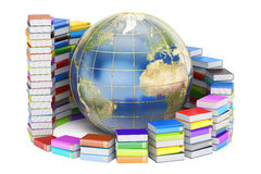 E-learning concept, Books with Globe. 3D rendering. On white background Stock Photography