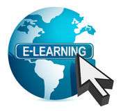 E-learning concept cursor illustration. Design over white Royalty Free Stock Photography