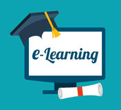 E-learning concept. Design, vector illustration eps10 graphic Stock Images
