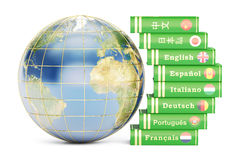 E-learning concept, dictionaries with Globe. 3D rendering Stock Photography