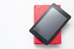 E-learning concept. Digital library - books inside. Tablet pc. Copy space for text Royalty Free Stock Photo