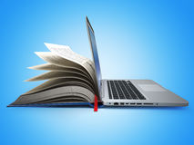 E-learning. Concept of education. Internet labrary. Book and Lap. Top. 3d Stock Photo