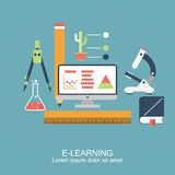E-learning. Concept education, online education, online learning, distance training. pattern, poster for web banners, advertising and printed materials. Icons Royalty Free Stock Images