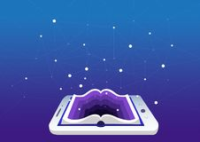 E-learning concept, education and training. smartphone or tablet as a book. royalty free stock photos