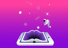 E-learning concept, education and training. smartphone or tablet as a book. Symbols of science and knowledge, astronaut stock photography
