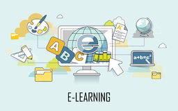 E-learning concept. Learning elements and computer in line style Stock Images
