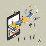 E-learning concept. Flat 3d isometric design of e-learning concept Royalty Free Stock Photos
