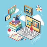 E-learning concept. Flat 3d isometric design of e-learning concept Royalty Free Stock Images