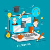 E-learning concept flat Royalty Free Stock Image