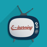 E-learning. Concept for e-learning, global communication and self education. Flat design illustration Stock Photo