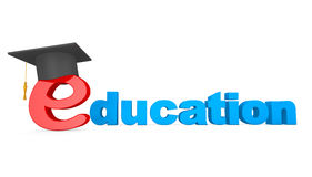 E-learning Concept. Graduation Hat over E Letter Royalty Free Stock Photo