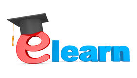 E-learning Concept. Graduation Hat over E Letter Royalty Free Stock Photography