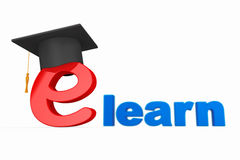 E-learning Concept. Graduation Hat over E Letter Royalty Free Stock Photos