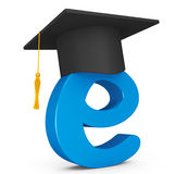 E-learning Concept. Graduation Hat over E Letter Royalty Free Stock Images