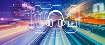 E-learning concept with high speed motion blur. E-learning concept with abstract high speed technology POV motion blur royalty free stock images