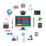 E-learning concept icon. E-learning concept, IT Communication, internet network as knowledge base. Set of flat design icons for web and mobile services and apps Royalty Free Stock Photos
