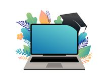 E-learning concept illustration. Big laptop with a square academic cap vector illustration