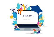 E-learning concept illustration. Big laptop with a square academic cap royalty free illustration