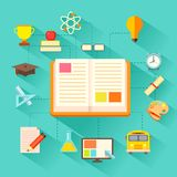 E learning Concept. Illustration of e learning concept in flat style Royalty Free Stock Images