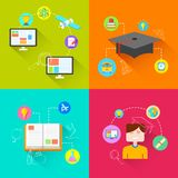 E learning Concept. Illustration of e learning concept in flat style Royalty Free Stock Photography