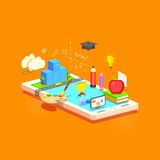 E learning Concept. Illustration of e learning concept on mobile in flat style Stock Images