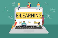E-learning concept illustration. Of young people using laptop and smartphone for distance learning and education. Flat design of guys and young women standing Royalty Free Stock Images