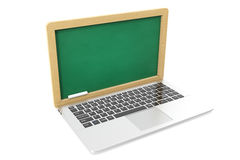 E-learning concept, laptop isolated on white. 3d illustration royalty free stock photography