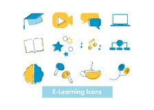E-learning concept, online education illustration for webinar, training, mobile application, virtual class landing, website, e- royalty free stock photography