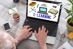 E-learning concept on a laptop screen stock image