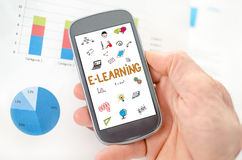 E-learning concept on a smartphone royalty free stock photography