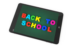 E-learning Concept. Tablet PC with Back to school sign Stock Image
