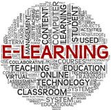 E-learning concept in tag cloud stock illustration