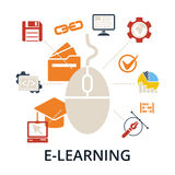 E-learning concept. Vector illustration. Stock Photo