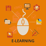 E-learning concept. Vector illustration. Royalty Free Stock Photography