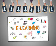 E-learning concept on a whiteboard Royalty Free Stock Photo