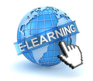 E-learning concept with world and hand cursor Stock Photography